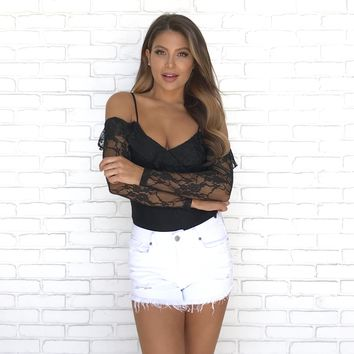 Amazing Lace Off Shoulder Bodysuit in Black