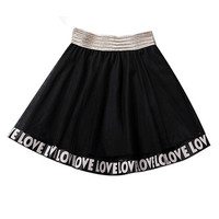 Letters Print Mesh A-line Pleated Mini Skirt
