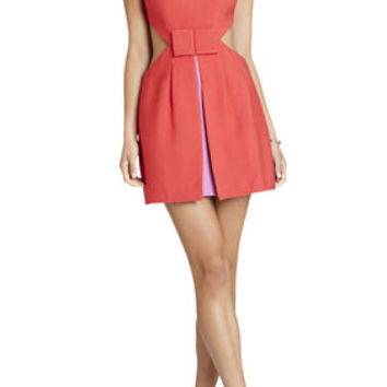 BCBG Kathryne Side-Cutout Bow-Front Dress