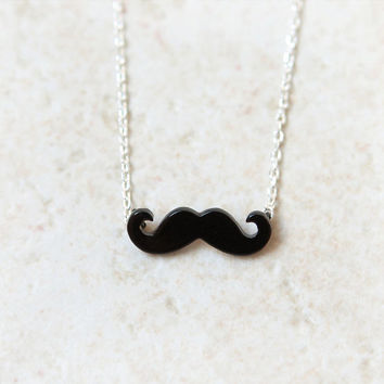 Black Mustache Necklace