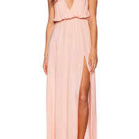 Pink Deep V Neck Split Elegance Maxi Dress