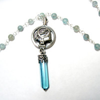 "18"" Sterling Skull and Lightning Apatite Necklace Aquamarine Grateful Dead Wire Wrapped OOAK"