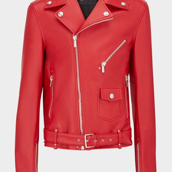 Versace Nappa Leather Biker Jacket for Women | US Online Store