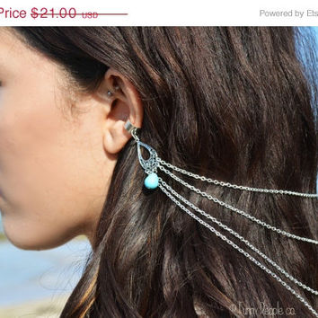 SALE Ear cuff Chain Headpiece Boho Head Jewelry Bohemian Hair Jewelry Gypsy Evaline Silver