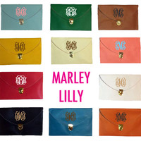 Monogrammed Brown Luxe Cross Body Clutch