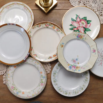 Mismatched China Bread Plates, Set of 8