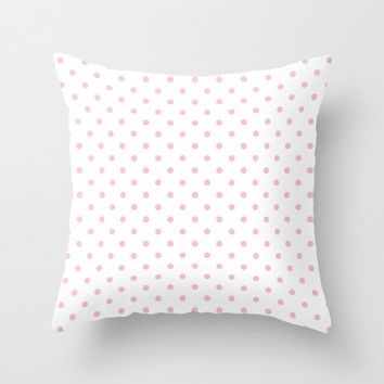 Velveteen Pink Polka Dot Pillow - Spring - Pink Throw Pillow - Housewares - Home Decor - Teen Room Decor - Girls Bedroom