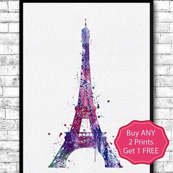 BLACK FRIDAY SALE 20% Off Eiffel Tower Watercolor Print Paris Watercolor Blue Purple Eiffel Tower Art Wall Hanging Home Decor Eiffel Tower P