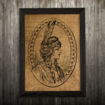 Native print American art Burlap poster Tribal print BLP774