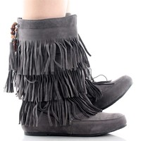 Cherokee Grey Mid Calf Fringe Pull On Moccasin Boot