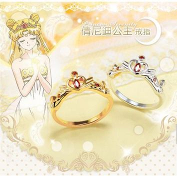 Sailor Moon 925S Sterling Silver Princess Serenity Crown Ring