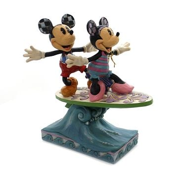 Jim Shore SURF'S UP. Polyresin Minnie Mickey Surfboarding 6001275