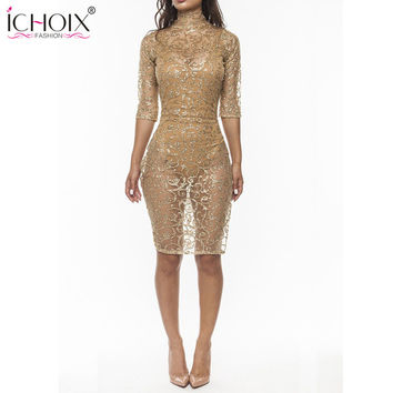 ICHOIX 2017 New Women Sexy Club gold sequin Dress Sheath Mesh Spring Bright Drill Perspective Ladies bodycon Party Dress Vestido
