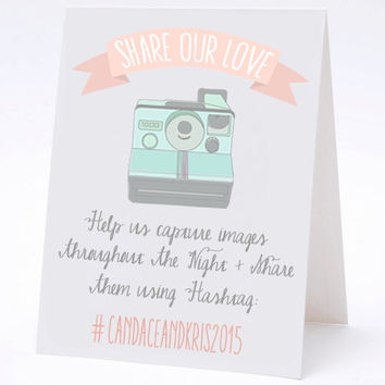 Share Our Love Hashtag Social Media Table Cards - Vintage Calligraphy Wedding Table Numbers