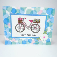 Happy Birthday card, Bicycle card, bicycle note card, bike card, cyclist birthday, Handmade greeting card, blue pink white