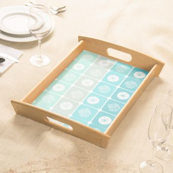 Coral Reef and sand dollar aqua beach patterns Serving Tray