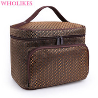 Wholikes Fashion High Capacity Beautician Professional Cosmetic Storage Cosemtic Bag Organizer Makeup Bag Womens Cosmetic Bag