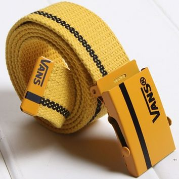 VANS men and women canvas smooth buckle simple wild jeans belt F0412-1 Yellow