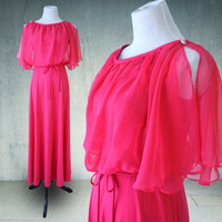 1970s Maxi Dress Hot Pink Butterfly Sleeves Chiffon Hostess Dress