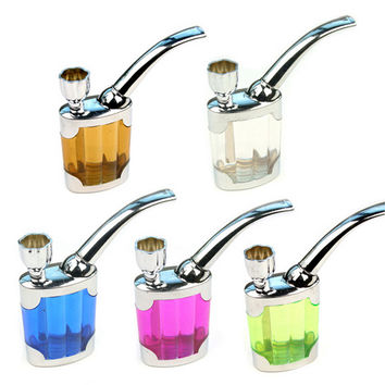 5 Colors Dual Purpose Water Tobacco Pipe Cigarette Holder Liquid Smoking Filter Lighters Smoking Accessories