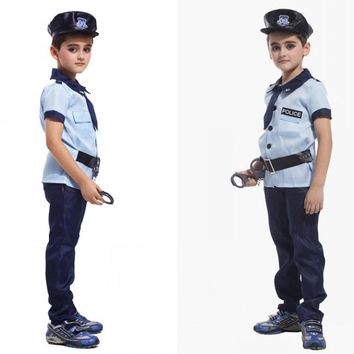 Child Carnival Police Cosply Costume for Halloween Party Kids Game Cosplay Clothing Boy Karneval Fancy Dress Costumes 89