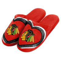 Chicago Blackhawks Official NHL Womens Glitter Slide Slippers