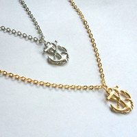 Silver or Gold ANCHOR Necklace, Yoga Jewelry, Layering necklace, mother, wife, sister, daughter, Yoga Necklace, layered,  wedding jewelry