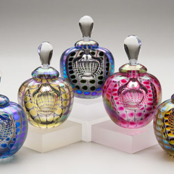 Faceted Round Colored Exterior by Thomas Philabaum: Art Glass Perfume Bottle | Artful Home