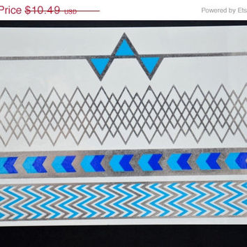 SALE! Metallic Silver and Blue Temporary Tattoo Jewelry - Flash Tattoo - Easy Application Jewelry Body Ink Art Bracelet Armband