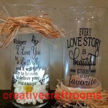 Tea light candle vase with personal message