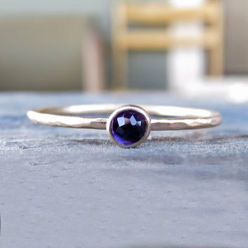 Tiny 14k Gold Amethyst Stacking Ring - 3mm Round Rose Cut Amethyst in Hammered Yellow Gold - Amethyst Mother's Ring - February Birthstone