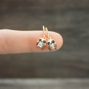 Gold Skull Earrings - Halloween Jewelry . Skull Charms on 14K Gold-Filled Earwires . Spooky Gifts for Her