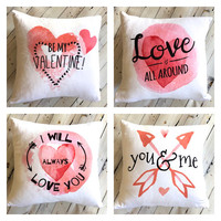 Valentine Decor - Be My Valentine - Valentine Gift for Wife - Pink and White - Decorative Pillow Cover - Romantic Gift for Him - Soft Pillow