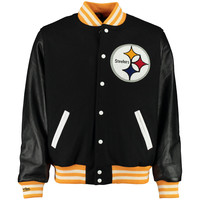 Men's Pittsburgh Steelers Mitchell & Ness Black NFL Wool/Leather Varsity Jacket