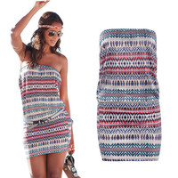 Multicolor Bohemian Mini Tube Dress