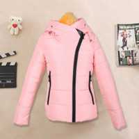 Down cotton-padded jacket and cap personality cotton coat Pink
