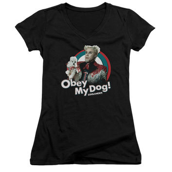 Zoolander Obey My Dog Black Womens V-Neck T-Shirt