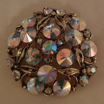 Breathtakingly beautiful Hollycraft hallmarked Rivoli rhinestone Brooch