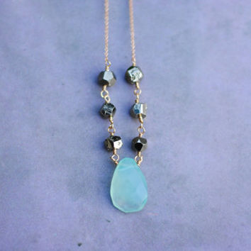 Pyrite and Chalcedony Wire Wrapped Necklace // Faceted Gemstones, Rough Cut Pyrite, Handmade Blue Chalcedony Necklace N011 by Indigo Lunch