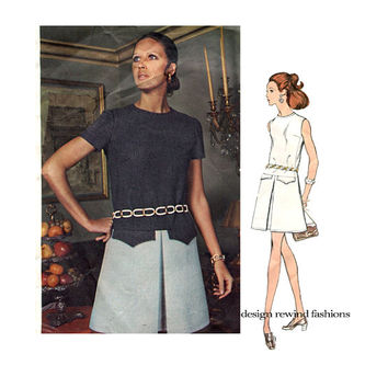 1970s VOGUE 2243 DRESS PATTERN Drop Waist Cocktail or Day Dress Galitzine of Italy Vogue Couturier Design Bust 34 Womens Sewing Patterns