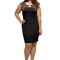 Stylzoo Women's Plus Size Bodycon Dress with Gold Studs Large 1X 2X