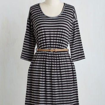 Mid-length Long Sleeve A-line Fab Fundamentals Dress in Stripes