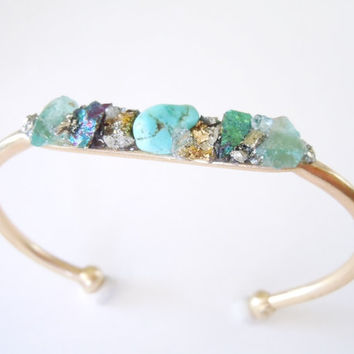 Raw Stone Bracelet - Inlaid - Raw Neon Blue Apatite - Turquoise - Chalcopyrite - Pyrite Minerals