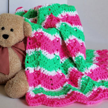 Afghan- Baby Blanket - Ripple Pattern - Lapaghan- Throw - Pink and Spring Green