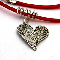 floral textured sterling silver heart necklace,