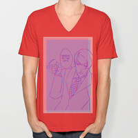 HATERS TO THE LEFT V-neck T-shirt by Stoned Levi