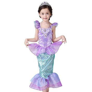 Baby Girl Clothes Little Mermaid Fancy Kids Girls Dresses Princess Ariel Cosplay Halloween Costume mermaid-tail
