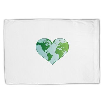 World Globe Heart Standard Size Polyester Pillow Case