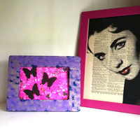 Purple - Blue and Gold 4 x 6 picture frame for trendy girls room