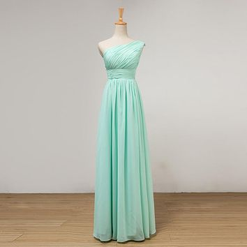 One Shoulder Bridesmaid Dresses Mint Green Under 50 Pleated Lace Up Bridesmaid Gowns 2017